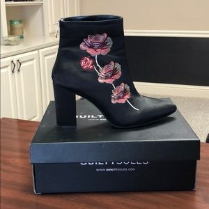 Guilty Soles Embroidered Satin Ankle Booties